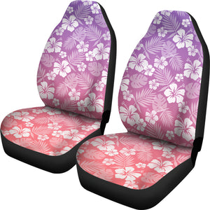 Coral and Purple Ombre Car Seat Covers With White Hibiscus Pattern Overlay