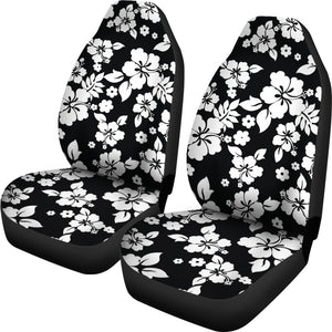 Black White Hibiscus Hawaiian Flower Pattern Car Seat Covers