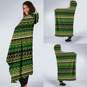 Green With Black Ethnic Tribal Pattern Hooded Blanket