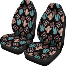 Load image into Gallery viewer, Pastel Turquoise and Rose Cactus Boho Pattern on Black Car Seat Covers Set of 2
