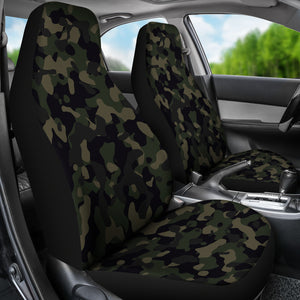 Camo Dark Green Black and Brown Camouflage Car Seat Covers