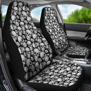 Black and Gray Skulls Roses Car Seat Covers