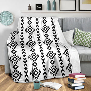 White With Black Ethnic Tribal Pattern Fleece Throw Blanket