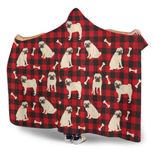 Pug Dog Pattern On Red Buffalo Plaid Hooded Sherpa Lined Blanket