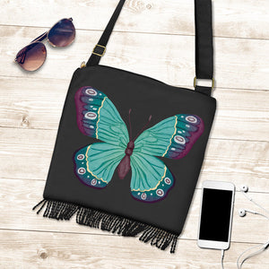 Watercolor Green and Purple Butterfly Boho Bag With Fringe