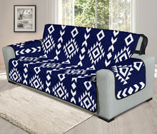 "Load image into Gallery viewer, Navy Blue and White Ethnic Tribal Pattern 70"" Oversized Sofa Protector Couch Slipcover"