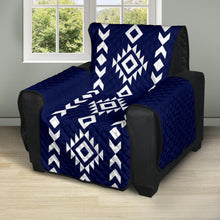 "Load image into Gallery viewer, Navy and White Ethnic Tribal Design Recliner Slipcover Protector Fits Up To 28"" Seat Width Chairs"