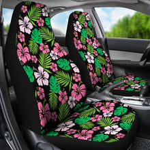 Load image into Gallery viewer, Hibiscus Flower Car Seat Covers Hawaiian Pattern In Pink, Green and Black Set of 2