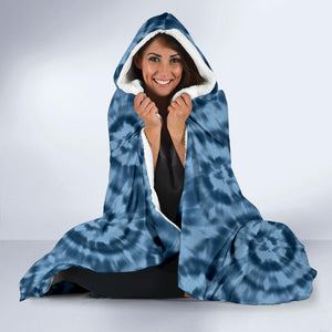 Blue Tie Dye Hooded Blanket With White Fleece Lining