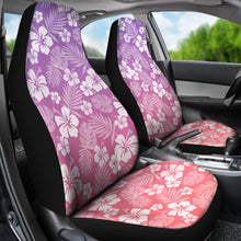 Load image into Gallery viewer, Coral and Purple Ombre Car Seat Covers With White Hibiscus Pattern Overlay
