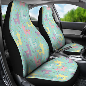 Pastel Mint, Yellow, Pink and Purple Spring Llama Pattern Car Seat Covers