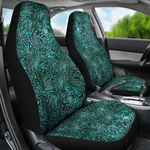 Load image into Gallery viewer, Turquoise Tooled Leather Style Printed Texture Design Car Seat Covers