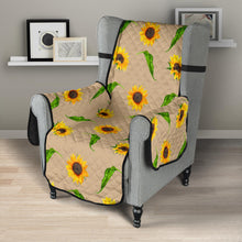 "Load image into Gallery viewer, Tan With Rustic Sunflower Pattern 23"" Chair Sofa Protector Cover Farmhouse Decor"