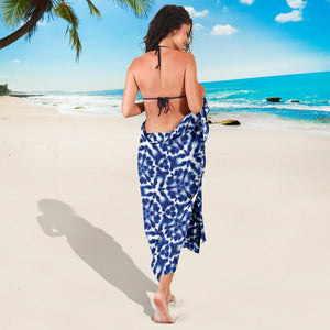 Shibori Blue and White Abstract Dye Pattern Sarong Swimsuit Cover Up