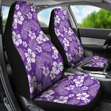 Load image into Gallery viewer, Purple With White Hibiscus Flowers Car Seat Covers Seat protectors Set of 2