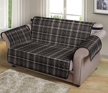 "Load image into Gallery viewer, Brown, Black and White Tartan Plaid 54"" Loveseat Cover Sofa Protector"