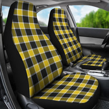 Load image into Gallery viewer, Yellow Black and White Plaid Check Car Seat Covers