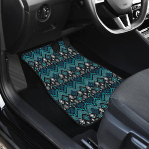 Teal and Black Ethnic Pattern Floor Mats