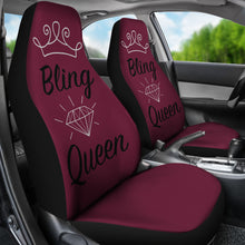 Load image into Gallery viewer, Bling Queen Cranberry Seat Covers
