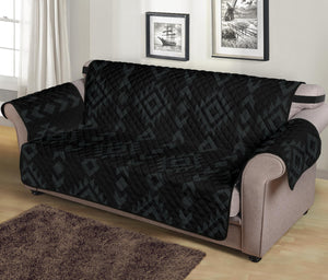 "Black With Gray Ethnic Tribal Pattern 70"" Seat Width Sofa Protector Slipcover"