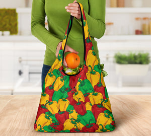 Bell Pepper Colorful Pattern Grocery Shopping Bags Pack of 3