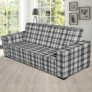 Gray and White Plaid Pattern Stretch Sofa Slipcover Protector