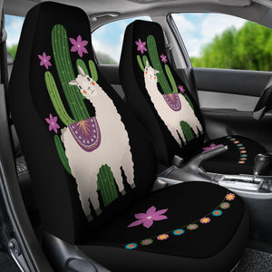 Alpaca Car Seat Covers Boho Hippie Style Cactus and Flowers Desert Motif Purple and Black