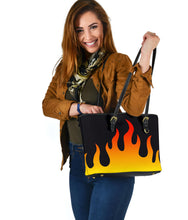 Load image into Gallery viewer, Flames on Black Vegan Leather Tote Bag