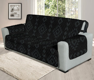 "Black With Gray Tribal Ethnic Pattern on 78"" Seat Width Oversized Sofa Couch Protector Slipcover"
