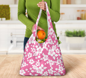 Pink and White Hibiscus Hawaiian Pattern Reusable Grocery Shopping Bags Totes