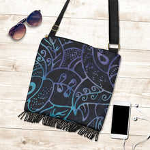 Load image into Gallery viewer, Black Purple and Blue Batik Pattern Watercolor Boho Fringe Bag Crossbody Purse With Shoulder Strap