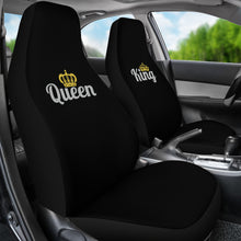 Load image into Gallery viewer, King and Queen His and Hers Car Seat Covers In Black