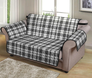 "Gray and White Plaid Loveseat Sofa Protector Slipcover Fits Up To 54"" Seat Width Couches"