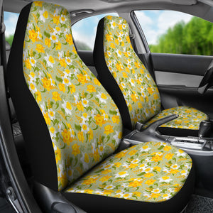 Light Green With Daffodils Car Seat Covers