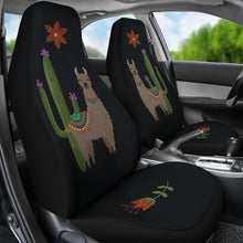 Load image into Gallery viewer, Brown Llama Car Seat Covers Chalky Style Cactus and Flower Design Printed on Black Fabric