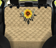 Load image into Gallery viewer, Boho Sunflower Dreamcatcher on Burlap Style Background Back Seat Cover For Pets