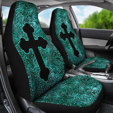 Load image into Gallery viewer, Turquoise Tooled Leather Style Car Seat Covers With Catholic Style Christian Cross