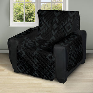 "Black With Gray Ethnic Tribal Pattern on 28"" Seat Width Recliner Protector Slipcover"