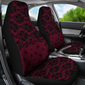 Dark Pink Lace Car Seat Covers