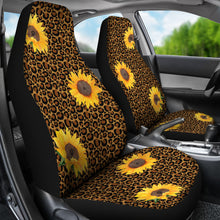 Load image into Gallery viewer, Leopard Print With Rustic Sunflowers Car Seat Covers Seat Protectors