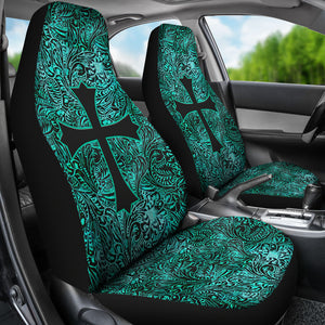 Turquoise Tooled Leather Style Pattern Car Seat Covers With Christian Cross
