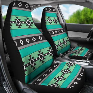 Green, Blue and Gray Abstract Aztec Ethnic Pattern Boho Car Seat Covers