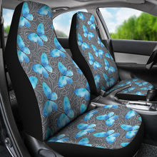 Load image into Gallery viewer, Dark Gray White Leaves Background With Blue Butterfly Car Seat Covers
