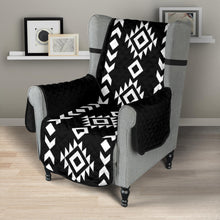 "Load image into Gallery viewer, Black and White Ethnic Tribal Armchair Slipcover Protector Fits Up To 23"" Chairs"