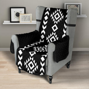 "Black and White Ethnic Tribal Armchair Slipcover Protector Fits Up To 23"" Chairs"