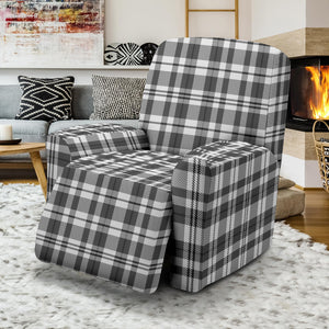 Gray and White Plaid Recliner Stretch Slipcover Protector