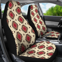 Load image into Gallery viewer, Navajo Inspired Native Tribal Ethnic Car Seat Covers in Creamy Beige and Red