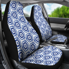 Load image into Gallery viewer, White With Blue Shibori Dye Pattern Ethnic Boho Car Seat Covers
