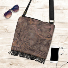 Load image into Gallery viewer, Coffee Colored Batik Style Design Fringe Purse Boho Bag Shoulder Strap Crossbody