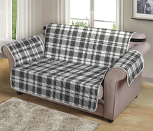 "Load image into Gallery viewer, Gray and White Plaid Loveseat Sofa Protector Slipcover Fits Up To 54"" Seat Width Couches"